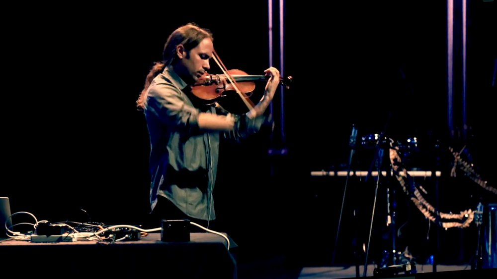 Performing on violin.  ACM TEI Arts Track, Tempe Center for the Arts.