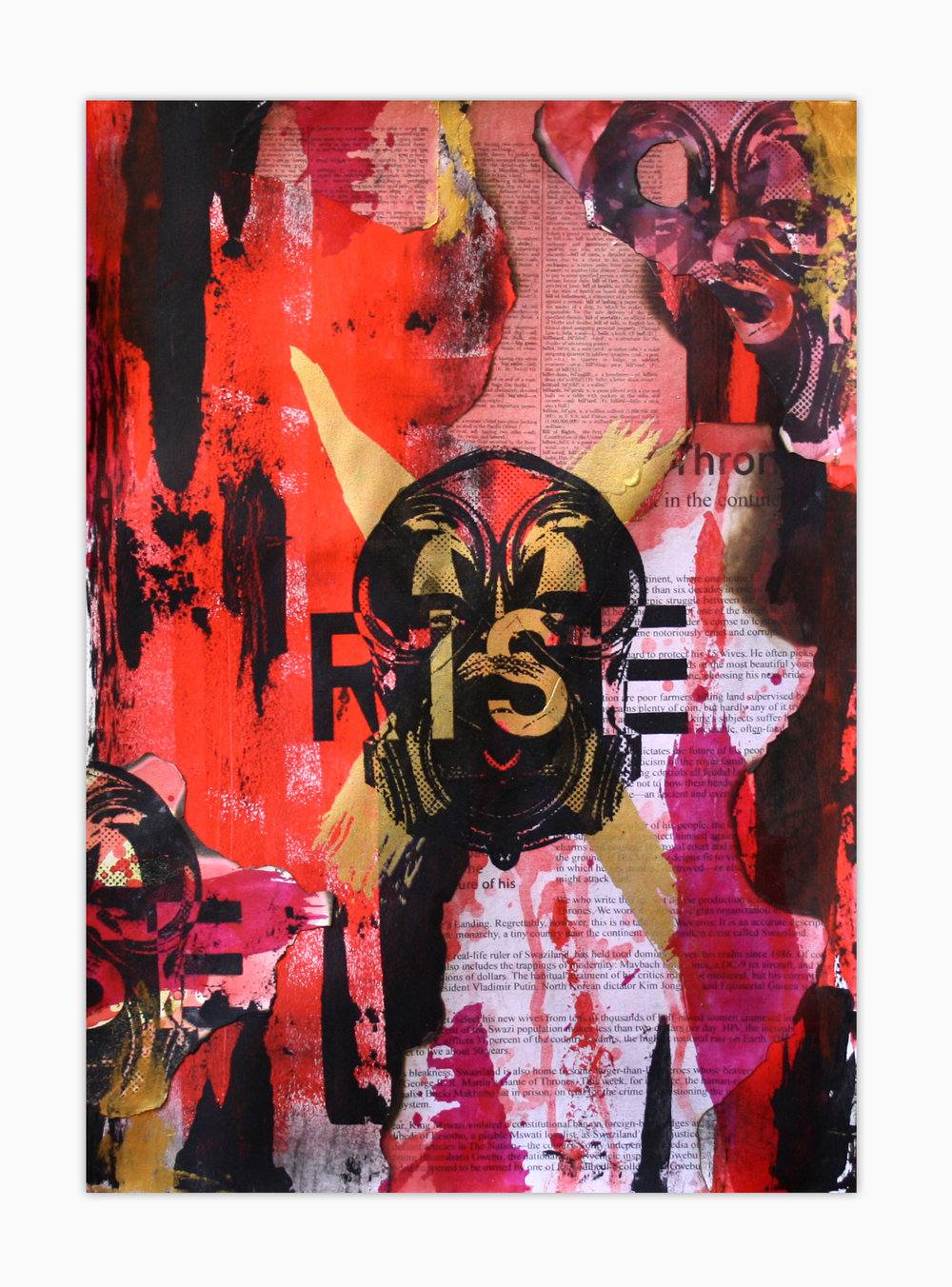 Rise II Screen print, watercolour and acrylic on paper collage