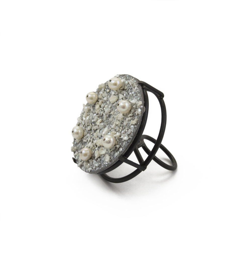 Mary Forst   Pearl Cocktail Ring  Mild steel, cultured pearl
