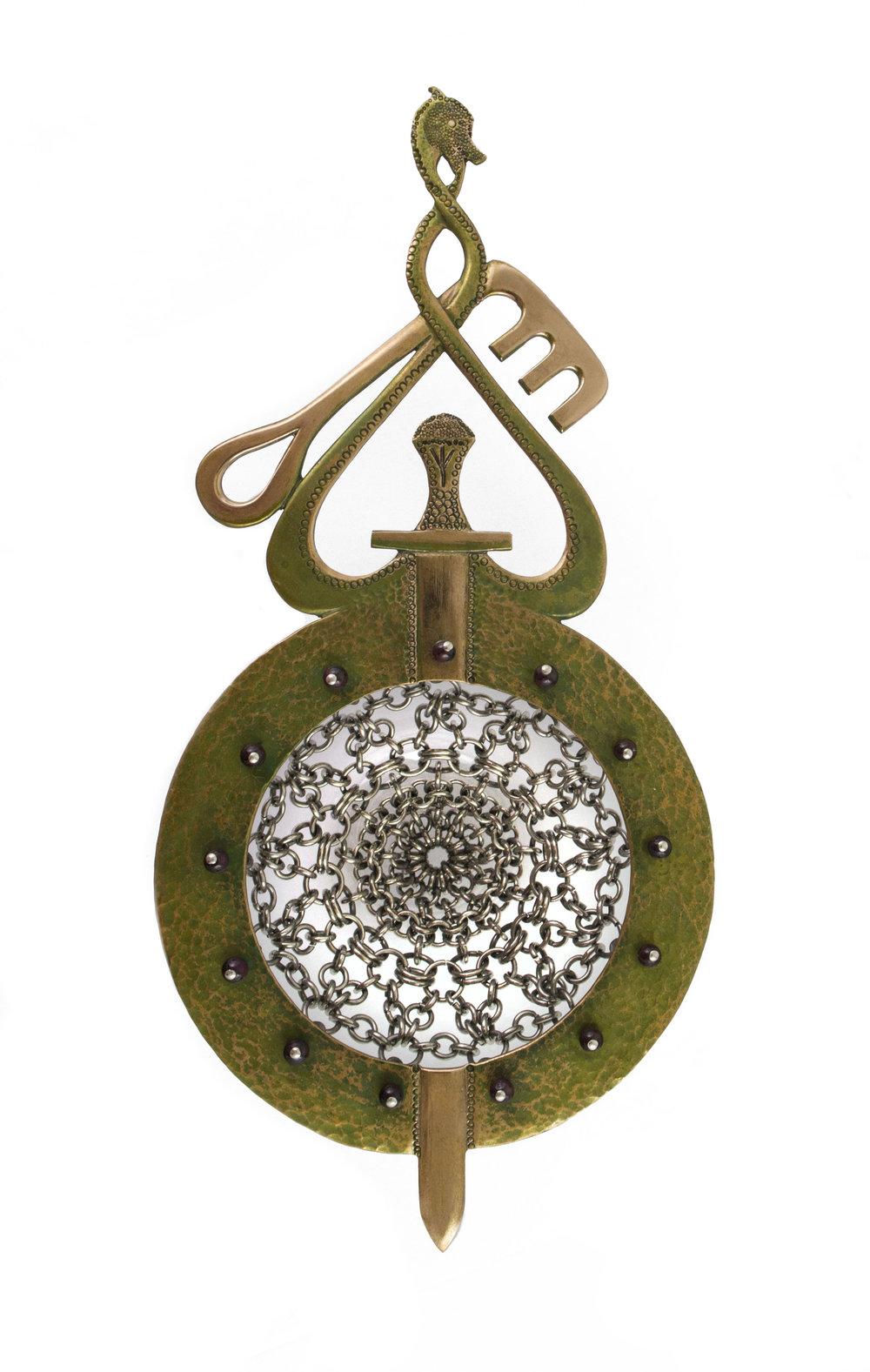 Maria Wolff   'Viking Key'Strainer  Bronze, stainless steel, sterling silver, garnet