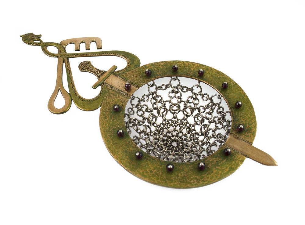 Maria Wolff   'Viking Key' Strainer  Bronze, stainless steel, sterling silver, garnet