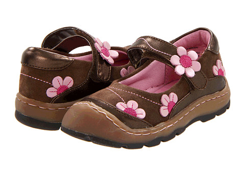 Girl's Flower Breeze Brown Suede with Chocolate, Fuchsia and Pink Trim
