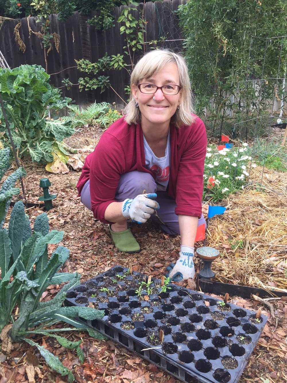 Joan Stevens loves plants - She is a botanist and ethnobotanist by training and a gardener by choice. She guerilla composts and works to improve the soil wherever she can. Joan teaches gardening, permaculture, and science classes in a variety of settings and is currently a biology instructor at Pasadena City College. She has two boys who are the inspiration for Two Suns Farm, an experimental micro-farm in Pasadena.  Her most recent passions are designing year-round cutting gardens and growing food in our challenging climate.