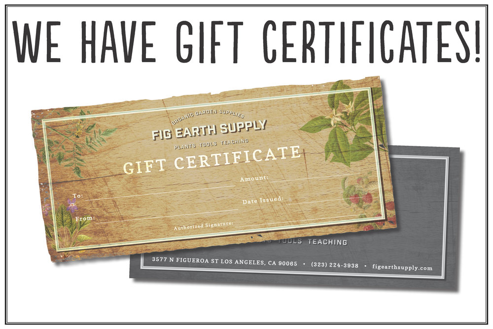 Give the gift of growing this Holiday Season. We have gift Certificates in any denomination. We can also mail them for you. Contact us at    info@figearthsupply.com
