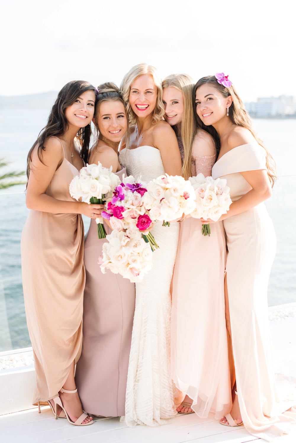 ibiza bridesmaids dresses in blush