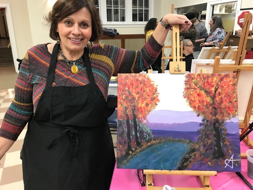 Sarah's Art Studio - Westchester and Putnam - Art Parties & Lessons  - Ana with Painting Fall Tree.jpg