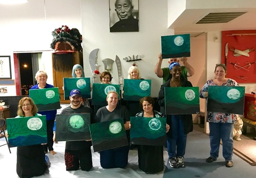 Sarah's Art Studio - Westchester and Putnam - Art Parties & Lessons  - Group Shot of Moon Painting.jpg