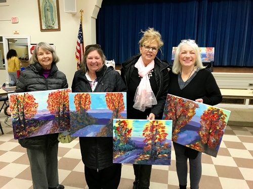 Sarah's Art Studio - Westchester and Putnam - Art Parties & Lessons  - Fall Tree Painting Group of 4.jpg