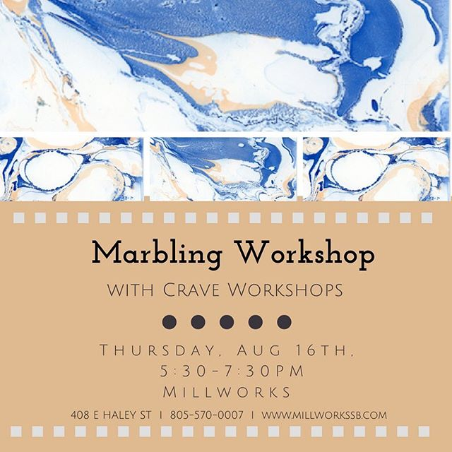 THIS THURSDAY join us at Millworks for a fun filled evening learning the technique of marbling with @craveworkshops 🌞. Link in bio to register! . . . . . #millworks #millworkssb #themillsb #santabarbara #santabarbarashopping #shoplocal #socal