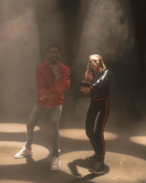 PnB Rock and Lauren on set for 'Written In The Stars,' photo: @muriel.knudson