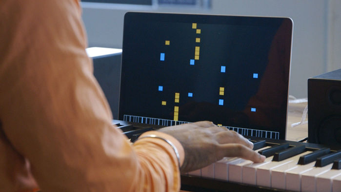 A musician improvises alongside A.I. Duet, software developed in part by Google's Magenta (pic: @google)