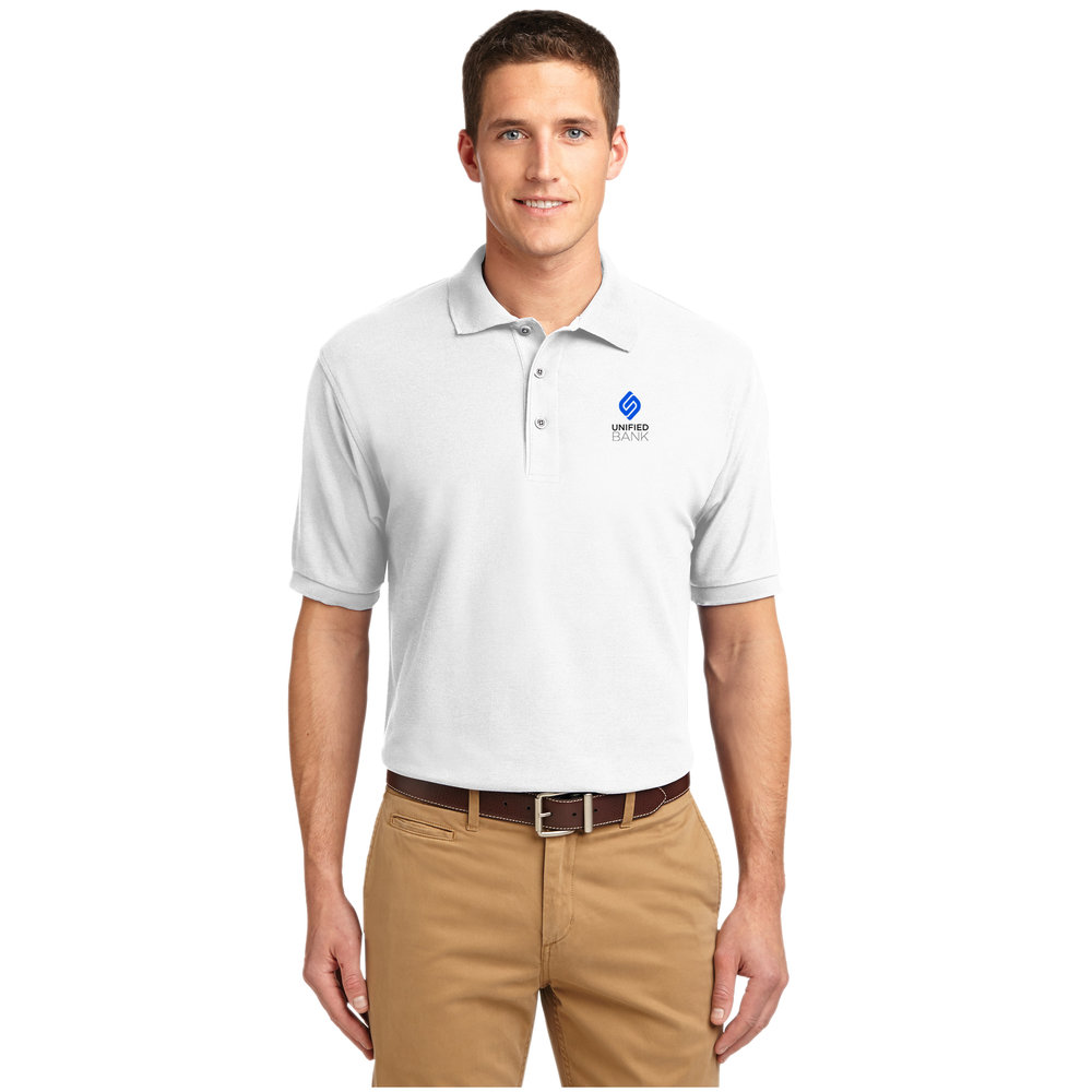 Mens White Performance Polo
