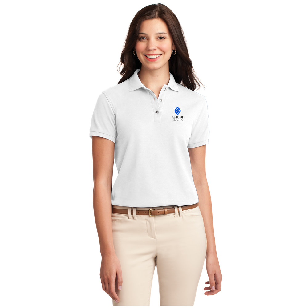 Ladies White Performance Polo