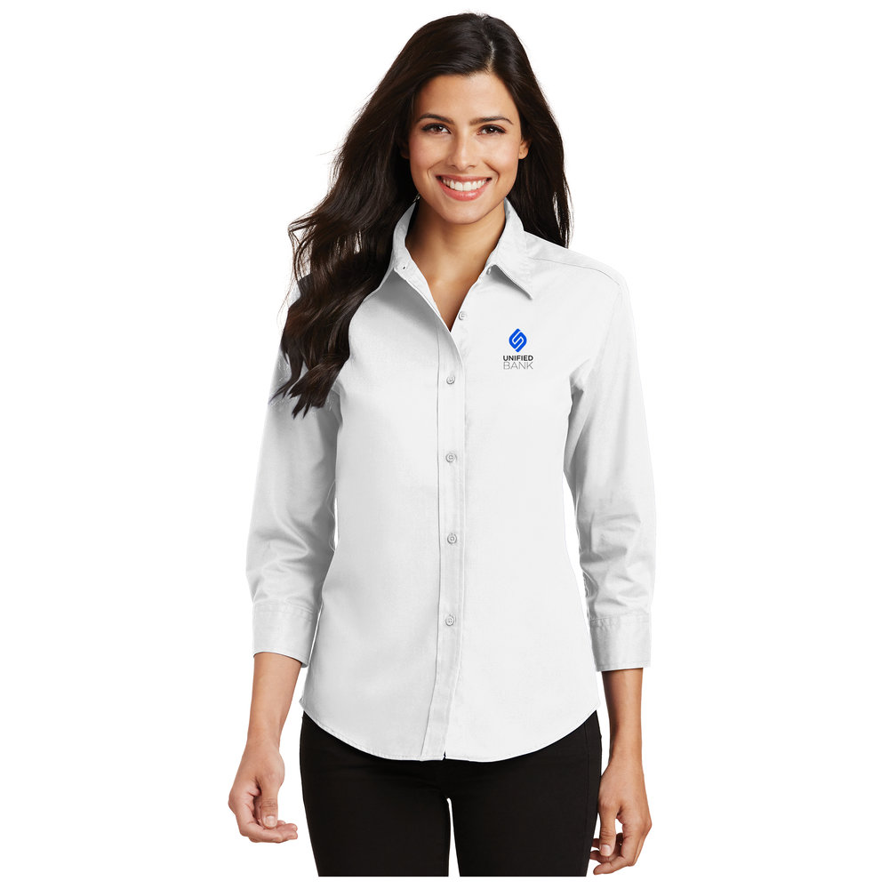 Ladies White 3/4 Sleeve Oxford