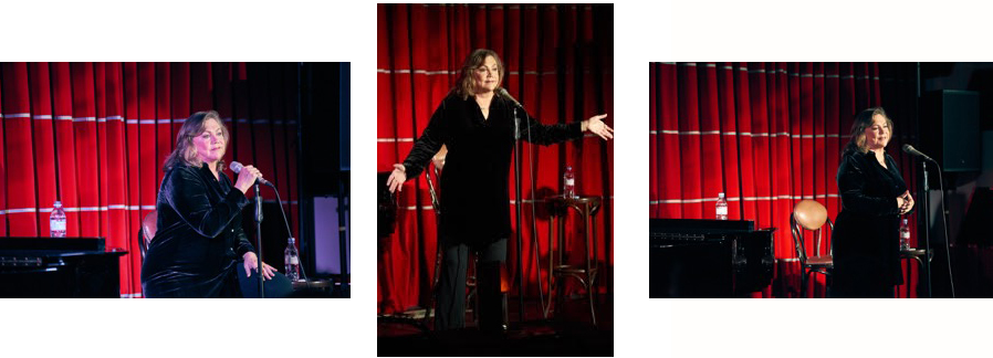 """Kathleen Turner performing her cabaret show: """"Finding My Voice""""."""
