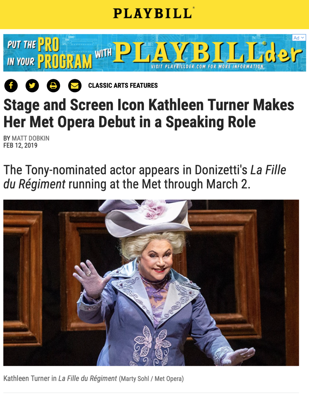 Playbill Interview with Kathleen Turner