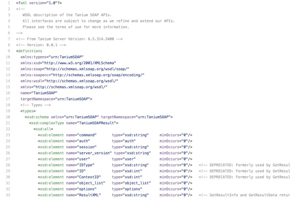 Tanium Server API WSDL (console.wsdl)
