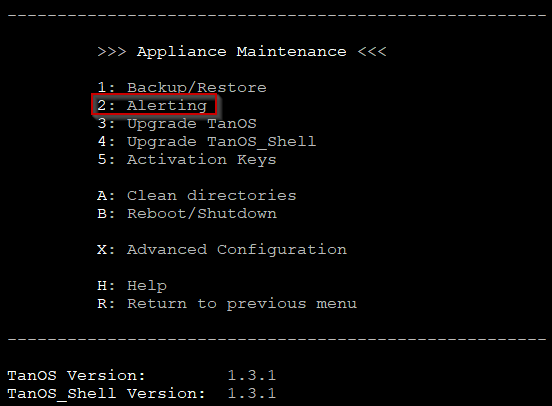 Figure        SEQ Figure \* ARABIC     6a      -Appliance Maintenance Menu 1.3.x