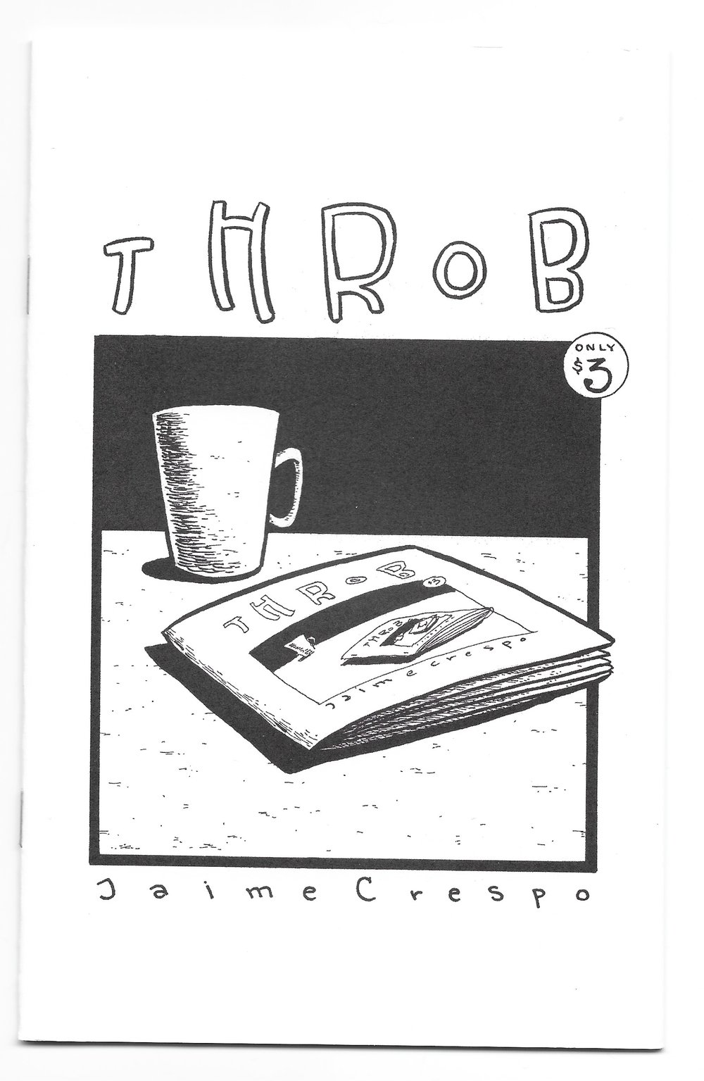 Throb - The (surprisingly) popular wordless book that was my tribute to the great New Yorker Magazine illustrator, Istvan Banyai and his wordless works of art, Zoom and Re-Zoom. The entire story behind this project is in the inside, front cover. Digest size, card stock cover, 24 pages. $4.00 ppd.