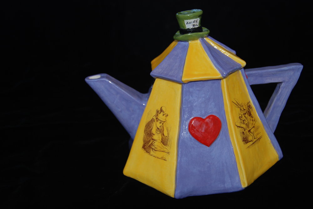 Alice in Wonderland Teapot by Patty McClane