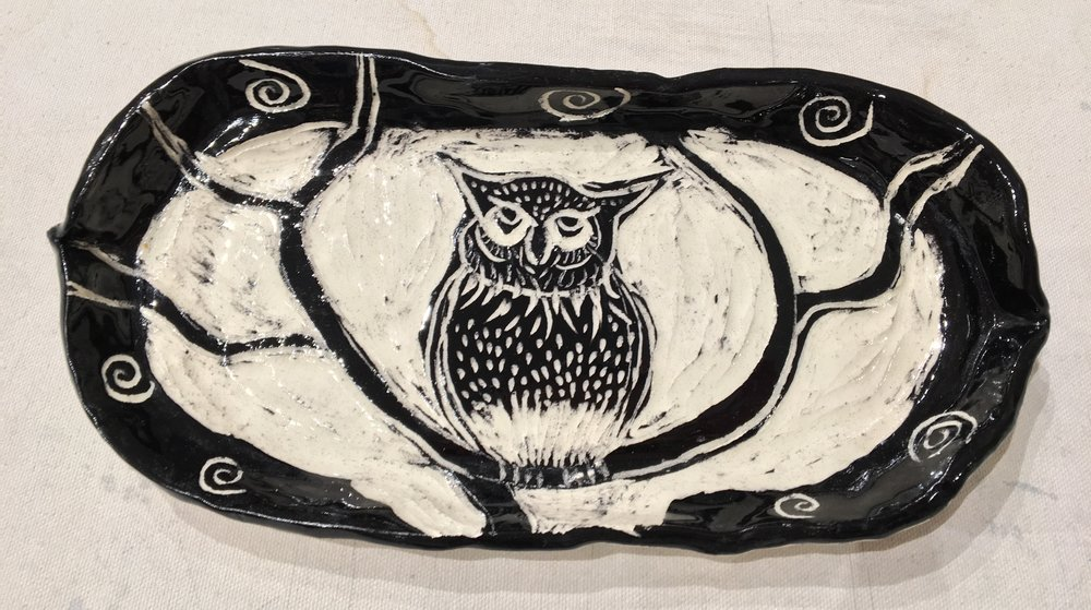 Owl Platter by Wendy Saver
