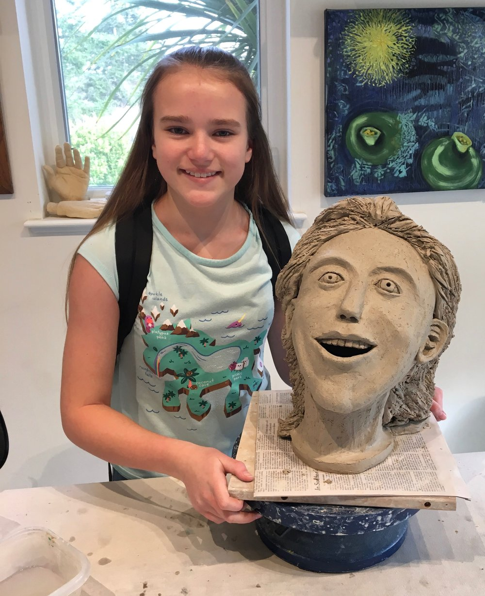 Madelyn Kuhnlein's completed clay head.