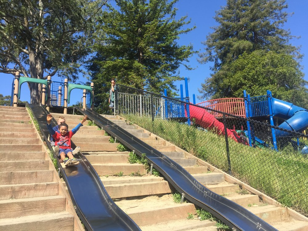 Eight crazy long slides will keep the kids happy and eventually exhausted.