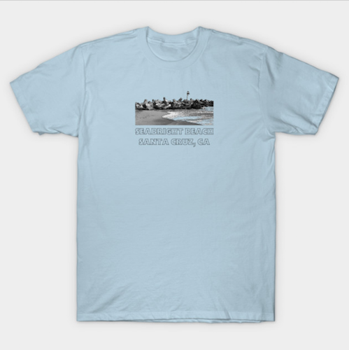 Seabright Beach, Santa Cruz Men's T-Shirt.  Men's Seabright Beach retro-styled T-shirt available in short and long sleeve tees in a variety of colors, sizes and styles. 100% combed cotton and pre-shrunk. Sizes run a little small. (Classic T-shirt shown here in Light Blue.)   Order Here.   Reg:  $20 - $31
