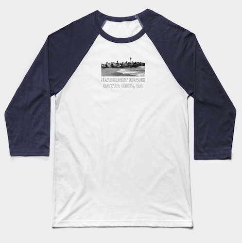 Seabright Beach, Santa Cruz Baseball T-Shirt.  Unisex Seabright Beach retro-styled baseball T-shirt with 3/4 sleeves in a variety of colors and sizes. 52% cotton/48% polyester, unisex sizing and pre-shrunk. Sizes run a little small. (Baseball T-shirt shown here in White/Navy.)   Order Here.   Reg:  $26 - $27