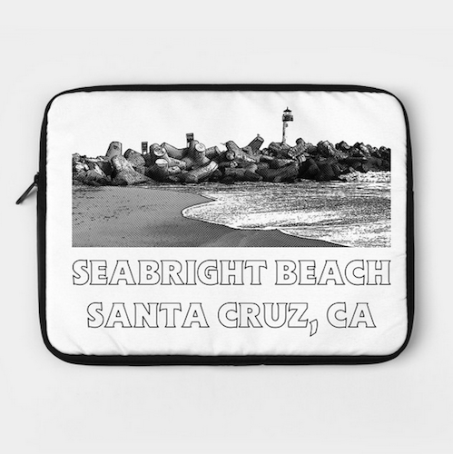 "Seabright Beach, Santa Cruz Laptop Case.  Form-fitting polyester. Foam padded interior. Easy access zipper. Comes in three sizes to fit 12"", 13"" and 15"" laptops.   Order Here.   Reg:    $36"
