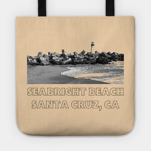 Seabright Beach, Santa Cruz Tote.  Durable Poly-Poplin outer with a laminate-coated interior and cotton handles to keep all your things secure and looking great in a retro design. Comes in three sizes.   Order Here .  Reg:    $20 - $24