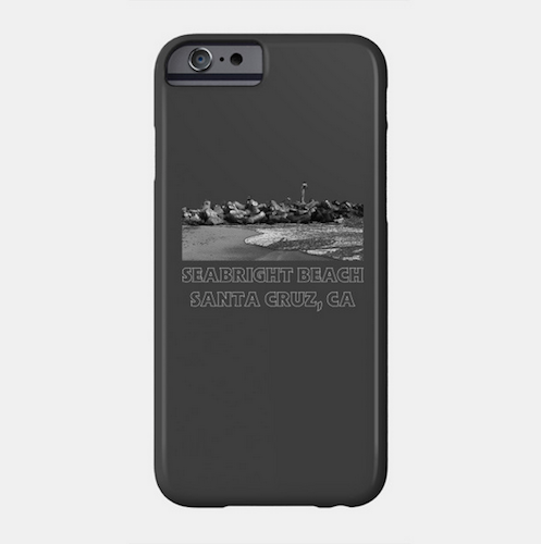 Seabright Beach, Santa Cruz Phone Case (Black).  Available in Slim and Protective styles for a variety of iPhones and Galaxy phones. Access to all ports. Fade and scratch resistant.   Order Here.   Reg:    $25 - $30