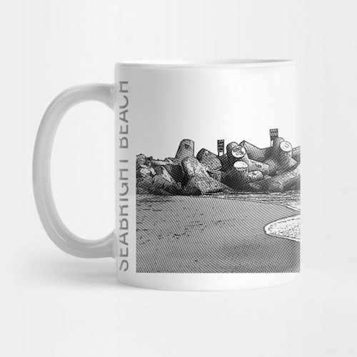 Seabright Beach, Santa Cruz Mug.  Ceramic 11oz capacity coffee mug, Mono/Gray. Microwave and top-shelf dishwasher safe.   Order here .  Reg:    $15