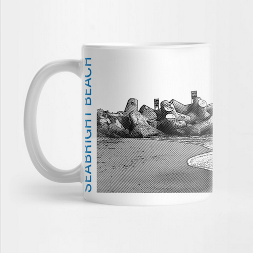 Seabright Beach, Santa Cruz Mug.  Ceramic 11oz capacity coffee mug, Mono/Blue. Microwave and top-shelf dishwasher safe.   Order here .  Reg:  $15