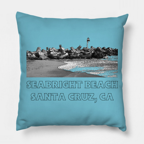 "Seabright Beach, Santa Cruz Throw Pillow.  Textured Poly ""Twill"" retro-styledpillow cover with concealed zipper and synthetic insert. A soft, comfortable accent for the home. Individually cut and sewn by hand.   Order Here .  Reg:  $25"