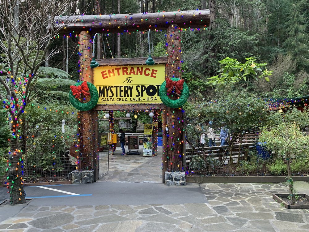 The Mystery Spot decked out for the holiday season.