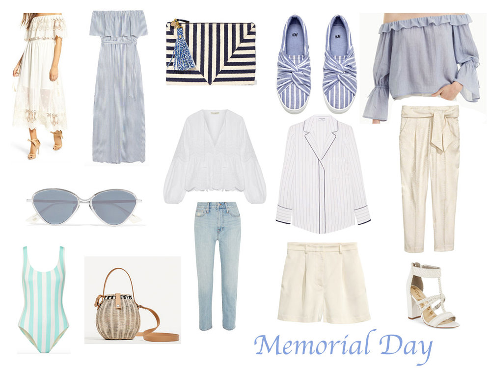 I'm rounding up some fun things for Memorial Day weekend, it's ONLY three days away. If the weather cooperates, I fully intend on spending the weekend in fun tops, white jeans (finally fashion legal for those of you who still follow the rules), and fun sunnies.  Almost everything above you can mix and match and are perfect pieces for the coming months.   Love that white off the shoulder dress. I bought the jeans in the photo and they are honestly the softest most comfortable jeans I have bought in a while. The shorts and the white tailored pants are both from H&M and under $40.  You guys know I am sucker for the solid and striped one-pieces, this new aqua color is perfect for summer or a Caribbean vacation. Their website is offering 20% off and overnight shipping for Memorial Day.