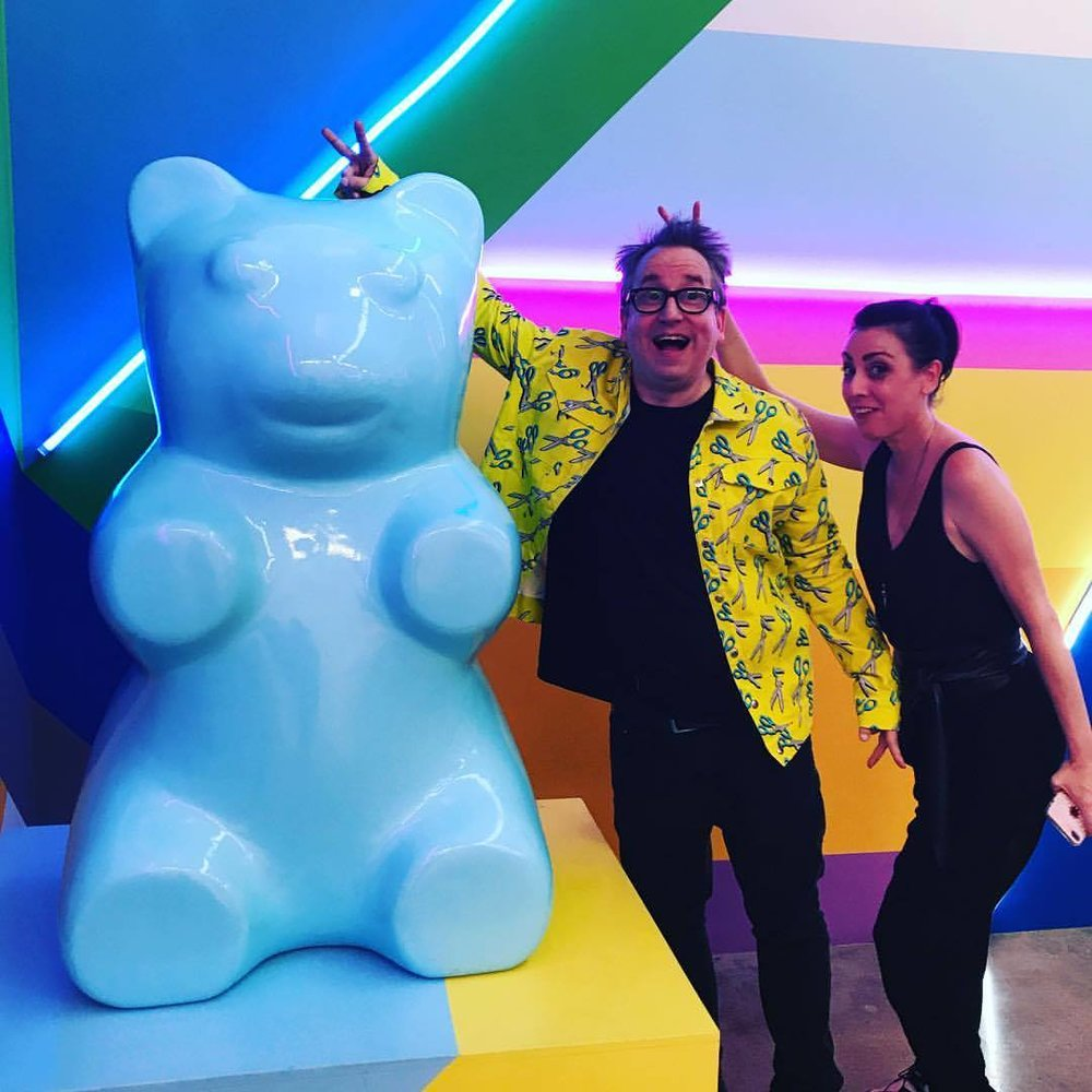 DJ subOctave & DJ Candy with their new gummy bear friend.