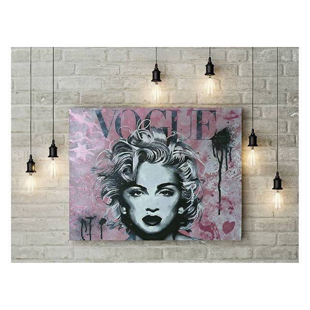 """Prints of my Madonna Vogue pop art piece are now available with 10% off from my online stores.  To redeem use code ISAFB10 on checkout at www.iansalmonart.com.  Also available from Etsy!  Search Iansalmonart.  Size: 22x18"""" on framed canvas or unframed 308gsm hahnemuhle paper. . . . . . . . . . . .  #madonnaart #voguemagazine #voguemag #vogue #Madonna  #artistoninstagram #painting #acrylicpainting  #artstagram #mdna #basquiatinspired #artfido #artmagazine #madonnafans #interiorinspo #interiorstyling #warholinspired #originalart #modernart #contemporaryartist #artforsale #interiorstyling #madonnafan #popartist #warhol #ratedmodernart #Etsy #streetartist #madonnaworld"""