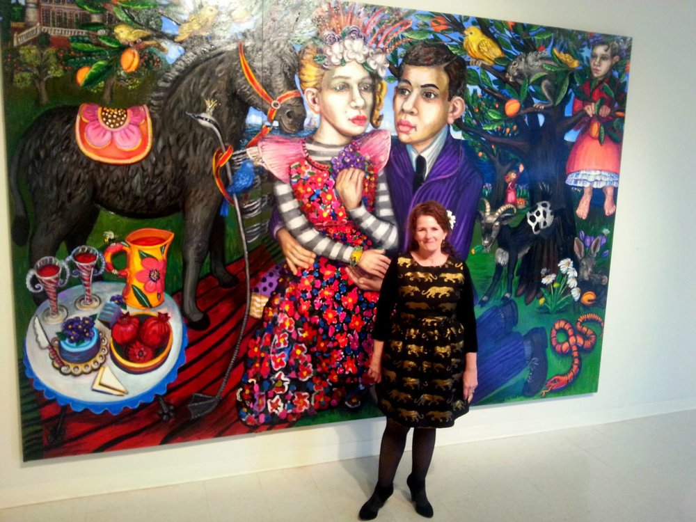 "Portrait of the Artist standing in front of ""Cast a Spell"" (2014)"