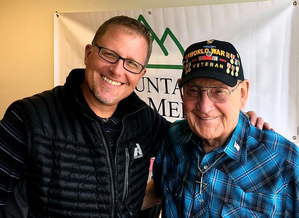 The American Veteran Show host Steffan Tubbs with U.S. Army WWII veteran Bill Brunger. Bill fought in the Battle of the Bulge in December, 1944.