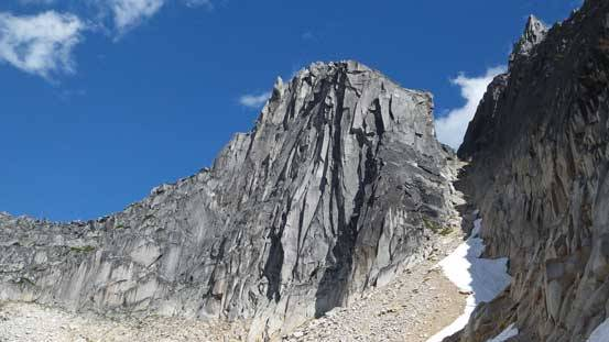 south Nesakwatch spire showing the descent couloir