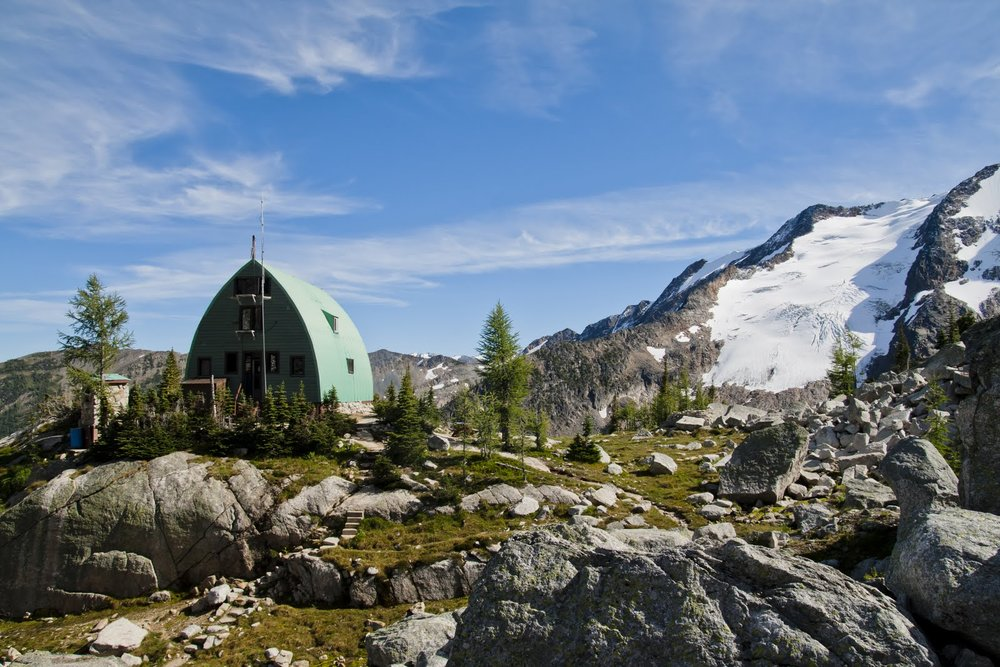 Conrad Kain hut sits at treeline beneath the magical spires of the bugaboos.