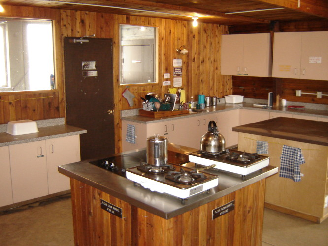 the kitchen area of the kain hut is fully equipped for guests