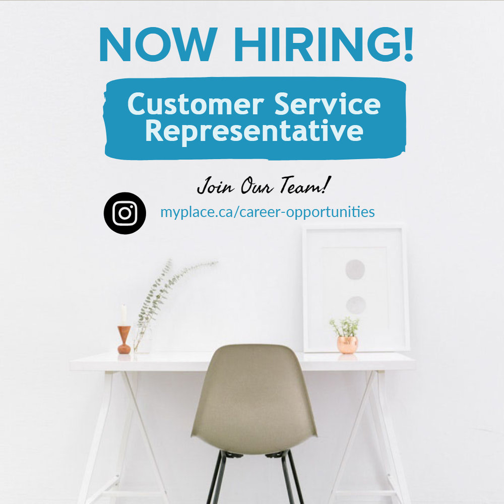 Now Hiring a Customer Service Representative for My Place Realty.