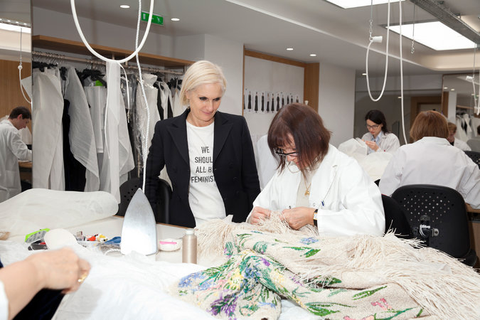 Maria Grazia Chiuri in an atelier - photo courtesy of Thibault Montamat