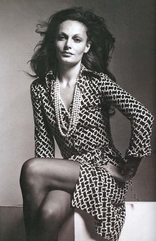 DvF in the iconic wrap dress - photo courtesy of Pinterest.com