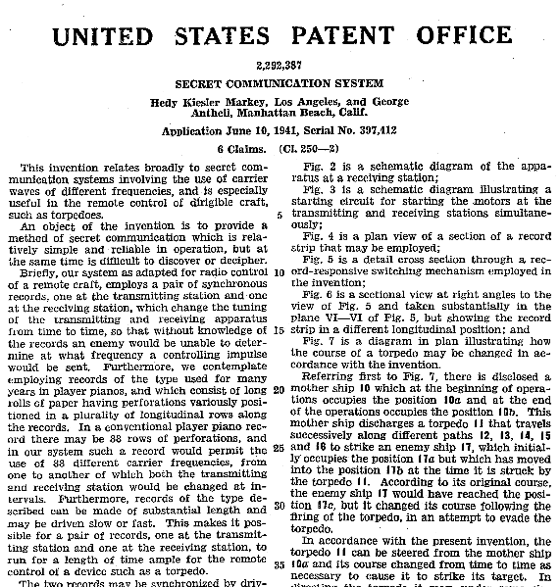 Hedy Lamarr's Patent Application for a frequency hopping spread spectrum technology - photo courtesy of Wikimedia commons