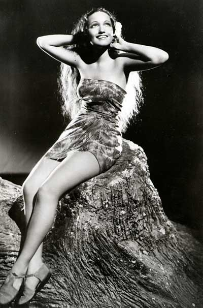 "Dorothy Lamoir wearing Edith's sarong in ""The Hurricane."""