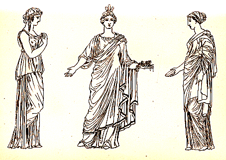 Peplos (left) and two women wearing himations (center and right) - photo courtesy of Wikimedia Commons